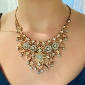Jewelry - Gold and Aqua colored necklace